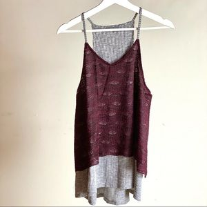 Size S Maroon and Grey Warehouse One Top